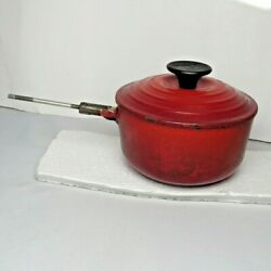 Le Creuset 14 Pan Made in France Small Red 3 4 Kitchen Fondue Cooking Cast Iron C $35.00