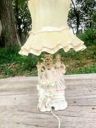 Vintage Porcelain Victorian couple Small Lamp Ruffled Shade $45.00