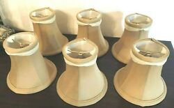 NEW 5quot; Lamp Shades Set of 6 Silk Gold Beige White Lining w Swag Chandelier $44.99