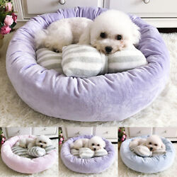 Round Ultra Soft Self Pet Cat Dog Bed with Pillow Warm Cat House Small Dog Bed $33.99