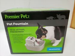 Premier Pet PET FOUNTAIN 50 OZ. with WATER FILTER for CATS amp; SMALL DOGS BPA FREE $18.50