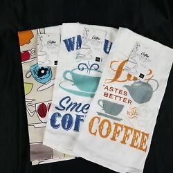 Homewear Kitchen Towels Set of 3 Coffee Themed NEW $18.77