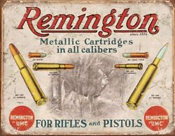 Tin Signs Remington For Rifles Vintage Retro Poster Advertising Design USA MADE $9.09