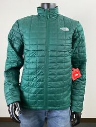 Mens TNF The North Face Thermoball ECO Insulated FZ Puffer Jacket Night Green $109.20