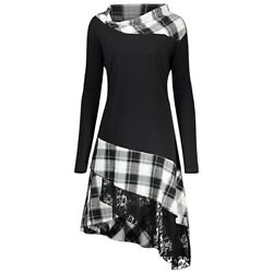 2020 NEW Stand Collar Long Sleeve Plaid Spliced Lace Plus Size Women Dress $12.87