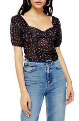 Topshop Ruched Mesh Women's Top Size 8 NWT $18.99