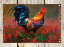home decor office restaurant rooster cottage farm country metal tin sign $15.79
