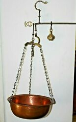 Antique Hanging Convertible Scale Hanging Beam Balance Arm Copper Bowl $89.00
