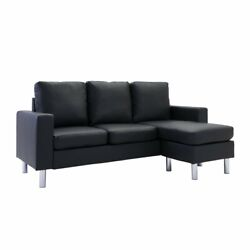 Modern Bonded Leather Sectional Sofa Small Space Adjustable Couch Black $279.99