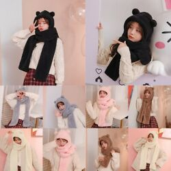 Adorable Bear Ear Scarf Winter Hat Hoodie Cap Thickened Warm Plush Scarf $12.99