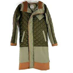 Burton Durable Goods XSmall Olive Green Copper Quilted Below Knee Hooded Jacket $60.00