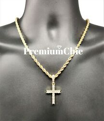 Iced Cross Pendant with 5MM Rope Chain Necklace Mens Hip Hop Gold Plated Jewelry $12.99