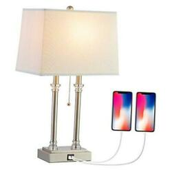 USB Table Lamp Silver Lamp Modern Elegant Bedside Lamp with Fabric Shade and P $80.37