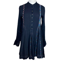 Free People One Dress XS Mini Boho Festival Black Lace Hi Lo Hem Long Sleeve $33.99
