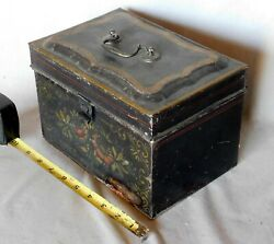 Antique tole painted tin document box deed folk art floral gilded ca. 1850 brass $61.00