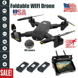 US 2020 Quadcopter Drone With HD Camera Selfie WiFi FPV Foldable RC 3 Batteries $54.98