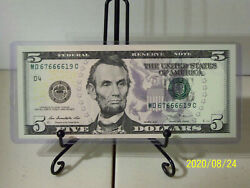 2013 $5 Federal Reserve Note with Fancy QUAD quot;6quot; Serial # Uncirculated $15.00