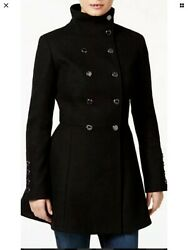 Calvin Klein Double Breasted Skirted Womens Coat Black US Size 16 RRP $320 GBP 79.00