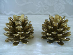 Vintage BRASS PINE CONE Candle Holders 2quot; Tall $29.95