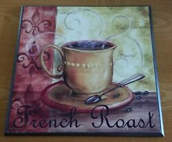 French Roast Coffee Themed 12.5quot; Square Wooden Wall Sign Hanger $10.00