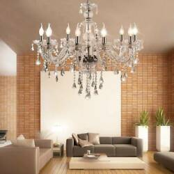 Crystal Glass Chandelier 10 Arms Ceiling Light E12 Pendant Lamp Clear Color $101.58