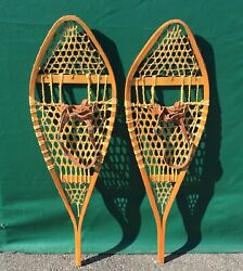 Vintage SNOWSHOES 42x14 Snow Shoes LEATHER BINDINGS NICE DECOR $81.49