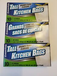 3 Essentials Tall Kitchen Bags 13 Gallons 10 Bags Per Box $11.89