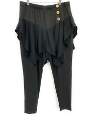 Rose Gal Women Skirted Leggings Black Plus Size 20 Wood Buttons Ankle Length $25.99