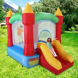 Inflatable Mighty Moonwalk Bounce House Castle Kids Jumper Slide w Carrying Bag $142.99