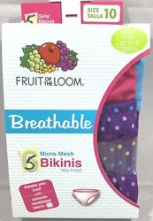 Fruit of the Loom Breathable Girls#x27; 5pk Micro Mesh Bikinis Size 10 $10.99