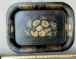 Antique Tole Tray Victorian Hand Painted Gilded fruit flowers gilt stenciled $29.00