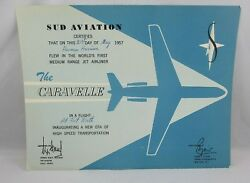 Rare The Caravelle Inaugural Commercial Flight Sud Aviation Certificate
