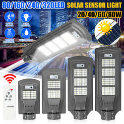 150W LED Commercial Solar Street Light Remote PIR Road Lamp Motion Sensor US