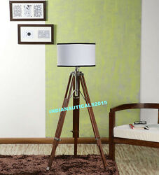 ROYAL NAUTICAL WOODEN TRIPOD FLOOR SHADE LAMP HOME DECOR $79.00