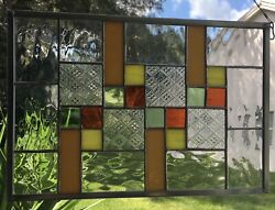 Stained Glass Window Panel With Art Glass Sun Catcher Handmade $74.99