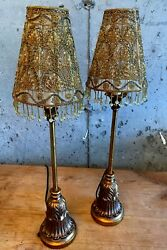 Pair of Vintage bronze and brass table lamps with glass beaded shades $100.00