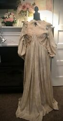 Rare Antique Victorian Silk and Lace Maternity Dress 1800#x27;s $350.00