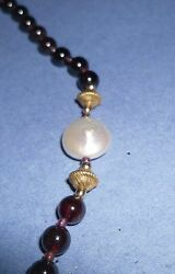 ideal gift amazing garnet pearl necklace bling antique vintage retro bling GBP 29.99