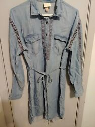 Knox Rose Womens denim Blue Lace Boho lyocell fabric dress size large $18.99