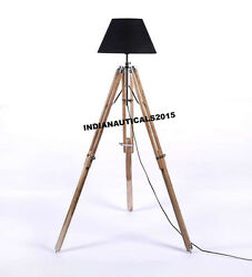 NAUTICAL FLOOR SHADE LAMP NATURAL TEAK WOODEN TRIPOD LAMP STAND HOME DECOR $80.00