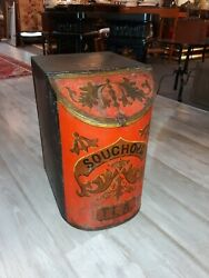 Antique Tole Toleware Chinese Tea Canister Box Chinoiserie $675.00
