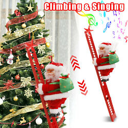 Electric Animated Musical Santa Claus Singing Climbing Ladder Up Christmas Tree $21.95