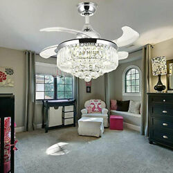 36quot; 42quot; Retractable Crystal Ceiling Fan Light LED Home Lamp Modern Chandelier US