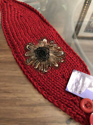 Feather Embellished Red Headband Warmer Hat $12.00