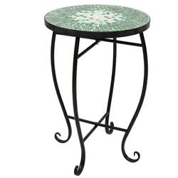 Bistro Table Mosaic Ceramic Blue Indoor Outdoor Garden Patio Cafe Side Table $36.89
