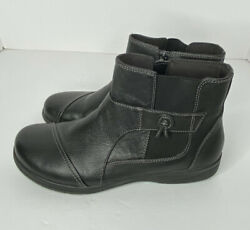 Clark's Collection 15807 Womens 10M Black Leather Zip Up Ankle Comfort Boots $16.95