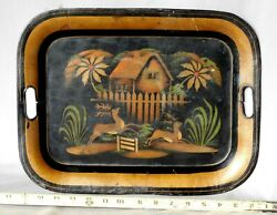 Antique Tole Tray Victorian Hand Painted Gilded 19th c. deer house farm stags $33.00