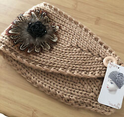 Knitted Feather Embellished Headband Warmer $12.00