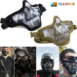 Half Face Mask Protective Steel Mesh for Halloween CS Military Tactical Airsoft $11.39