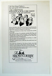 The Original BROWN DERBY Hollywood Christmas Ad: Party for 100 Santa#x27;s 1980s $24.97